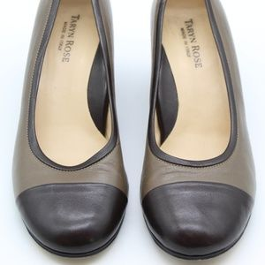 Taryn Rose Two-Tone Brown Wedge Pumps Size 7